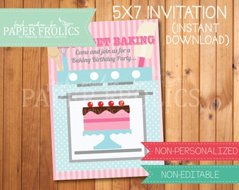 Baking Party Invitation, Digital, DIY, Printable
