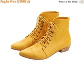 FINAL BOOTS SALE Yellow boots, High Polly-Jean, yolk Boots, Leather Boots, handmade, flats, leather shoes, by Tamar Shalem on etsy