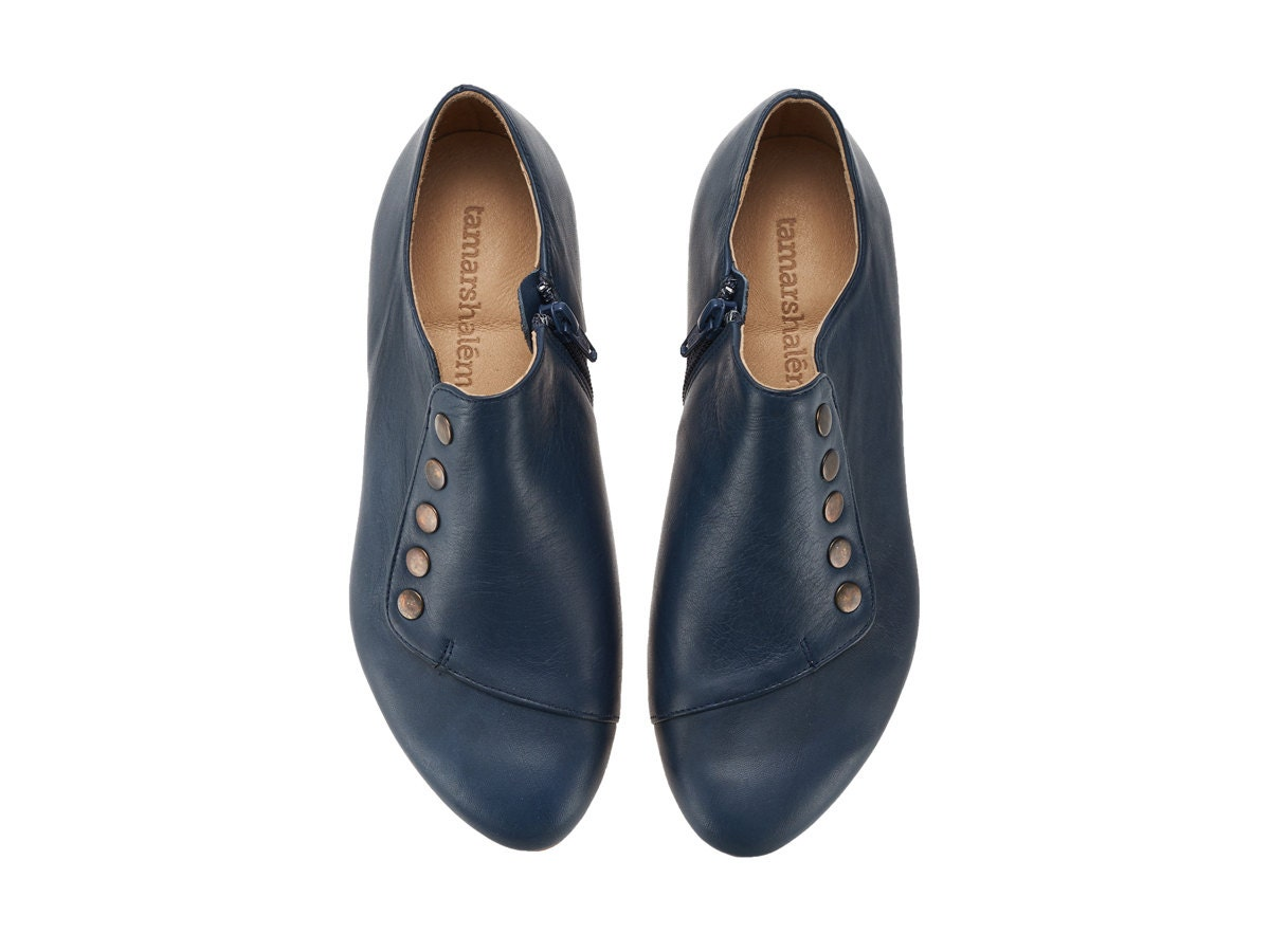 navy handmade leather shoes grace blue flats by tamar shalem