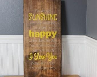 wooden sign, you are my sunshine, subway art, wall decor,  wall hanging,wood sign,sunshine,nursery art,nursery,baby shower