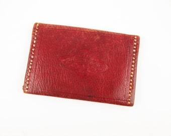 Soft Red Leather Wallet With Tan Binding - Imprinted 'Souvenir of Uran Africa 1943' - Pockets