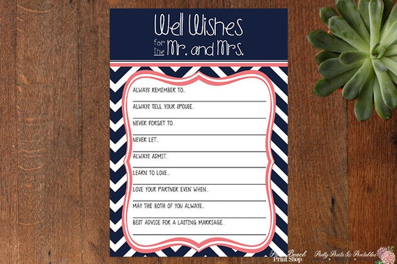 Well Wishes For The Mr. And Mrs Wedding Game INSTANT