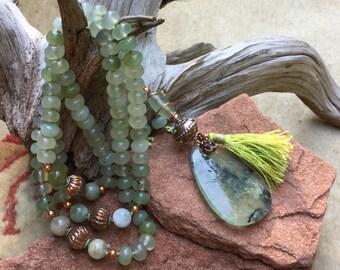 Green Prehnite Mala Tassel 108 With Aquamarine and Copper