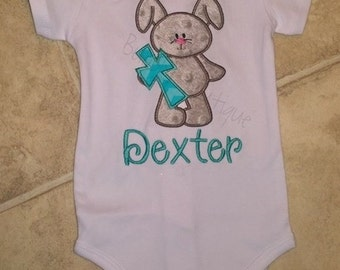 Bunny rabbit & cross applique embroidered shirt with name