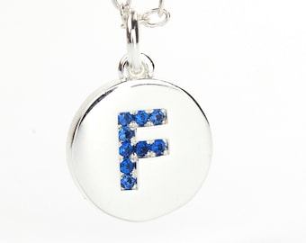 Letter F on Silver Plated Disc, Capri Blue CZ Pave Letter Charm, Initial Pendant, 11mm Dia., 2.5mm Thick, Alphabet Charm, C0UM.SI.RH18.F.P01