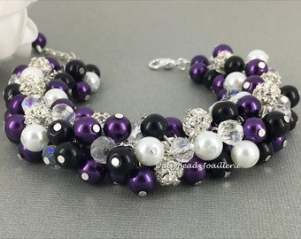 Purple and Black Bracelet, Purple Black White Pearl Cluster Bracelet, Purple Pearl Bracelet, Bridesmaid Plum Bracelet