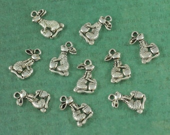 Silver Easter Bunny Charm - Package of 10 pieces