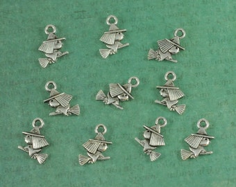 Silver Witch & Broomstick Halloween Charms - Package of 10 pieces