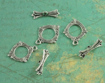 """Antique Silver Fancy Baroque Diamond Toggles - Package of 6 Sets - Measures 5/8"""" - Antique Silver Finish"""