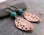 Sale - Copper Seed Pod Earrings // dangles with organic shape and texture // turquoise accents // artisan earrings (3580)