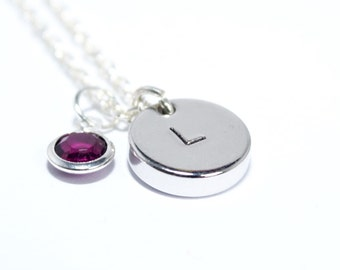 Initial Birthstone Necklace, Personalised Necklace, Metal Stamped Initial Necklace, Bridesmaid Gift, Silver Initial, Birthstone Necklace