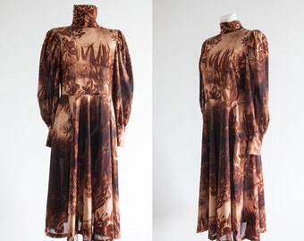 70s brown tan fall autumn  A line   dress/long sleeve polyester high neck  floral print casual day dress/ latern sleeves dress/M