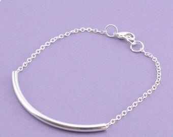 SALE 20% OFF SALE Simple Silver Tube Bracelet, Silver Chain Bracelet, Stacking Bracelet, Under 10 Dollars