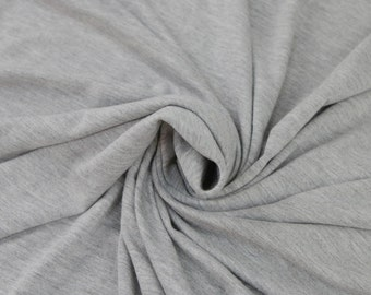 Light Heather Gray Rayon Jersey Spandex Knit Fabric by the Yard - 1 Yard Style 406
