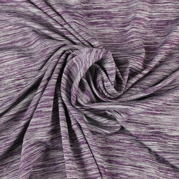 Plum space dye poly spandex performance knit fabric for for Space dye knit fabric by the yard