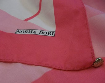 1/2 OFF!!! Vintage Norma Dori, Two Tone Pink and White Scarf, S
