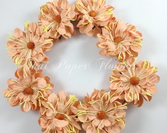 10 PEACH Large Culry Wild Daisy Mulberry Paper Flowers Scrapbook Craft Wedding Supply Card Making 50/D4