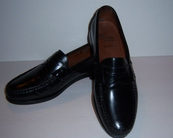 Vintage Allen Edmonds Classic Black Walden Penny Loafers Leather Slip Shoes 10 D Made In the USA