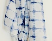 ON SALE Ink Blue Shibori Silk Scarf, Tie Dye Scarf, Hand Dyed Scarf, minimalist, Silk Scarf, Womens Scarf, Minimalist Scarf, minimalist gift
