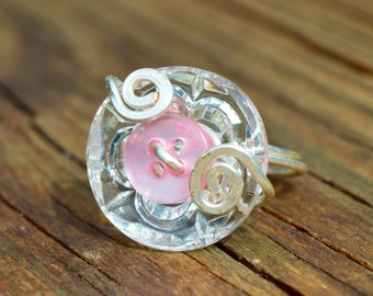 Glass and Pink Button Ring