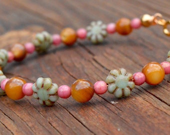 Turquoise Czech Glass Flowers, Pink Czech Glass and Amber Mother of Pearl Beaded Bracelet