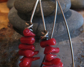 Coral and Sterling Silver Handmade/Hand Forged Dangle Earrings Sterling Silver Earrings Toniraecreations