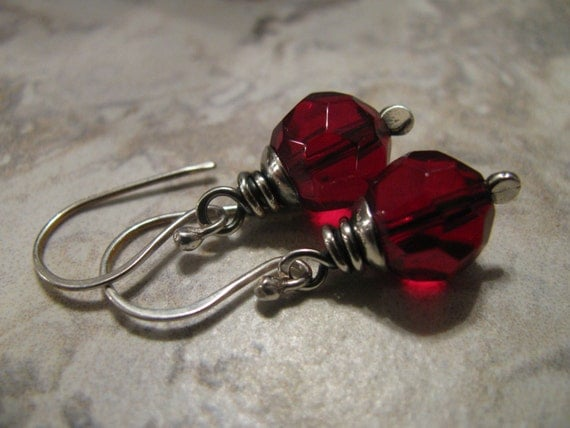 Ruby Red Glass and Sterling Silver Earrings Handmade/Hand Forged Dangle Earrings- Toniraecreations