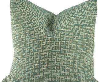 SALE! Teal Green Greek Key Throw Pillow Cover, Grecian Key, Accent Pillow, 22x22, 20x20, 18x18