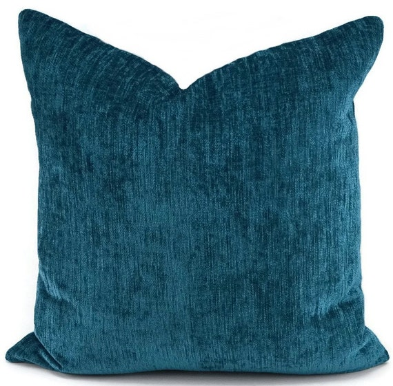 Turquoise Down Throw Pillows : Deep Turquoise Chenille Pillow Cover Dark Teal Throw Pillow