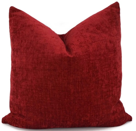 Throw PIllow Cover Red Chenille Pillow Cover Red by ThePillowSpot