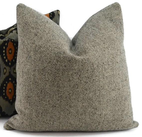 Grey Wool Throw Pillow : Throw Pillow Cover Gray Tweed Pillow Cover Wool & Linen