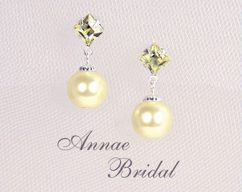 "Light yellow pearl earrings, bridal jewelry, yellow pearl drop earrings, square rhinestone, silver, ""Simply Divine"" earrings"