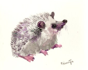 Hedgehog, original painting, watercolor, kids wall art, nursery art, animal lover