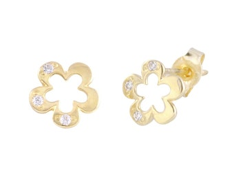 14k Gold Open Flower Stud Earrings
