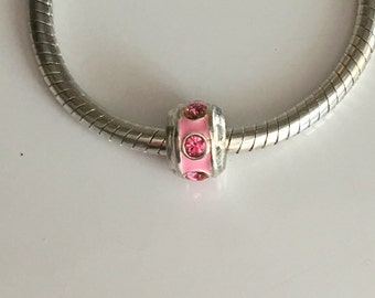 Pink Enamel European Bead with Pink Rhinestones..Charm..Spacer..add-a-bead..for bracelet or necklace..gift