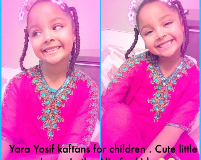 Children kaftan yara yosif Alia caftan for kids in pink and aqua ager 4 to 6