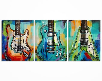 Gift for musician Large guitar painting Colorful Music Art Original abstract electric guitar painting on canvas - triptych - MADE TO ORDER