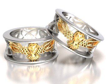 celtic wedding ring set his and her gold owl rings silver 10k 14k 18k - Unique Wedding Ring Set