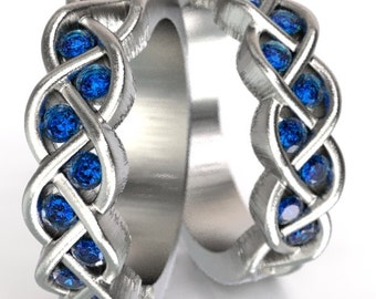 Celtic Wedding Band Set Sapphire Stone With Braided Knot Design in Sterling Silver, Custom Size CR-1005