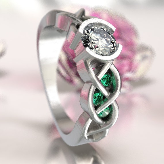Celtic Emerald and Moissanite Engagement Ring with Braided Knotwork Design in Sterling Silver, Made in Your Size CR-1006