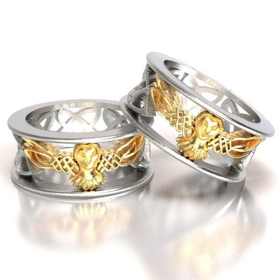 Celtic Wedding Ring Set His and Her, Gold Owl Rings, Silver 10K 14K 18K Gold, Palladium Platinum, Unique Wedding Ring Set, Barn Owl CR-1016