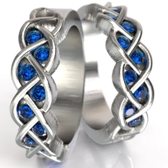 Celtic Wedding Band Set Sapphire Stone With Braided Knot Design Sterling Silver, Matching Wedding Rings, Sapphire Ring Set Custom Size 1005