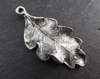 Oak Leaf Pendant Charm - Matte Antique Silver Plated - 1pc - TYPE 2