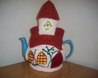 Knitted Tea Cosy Cozy Cosie Church with Clock Tower Shabby Chic