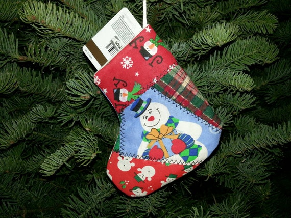 Handmade quilted stocking gift card holder tree ornaments. Set of 10