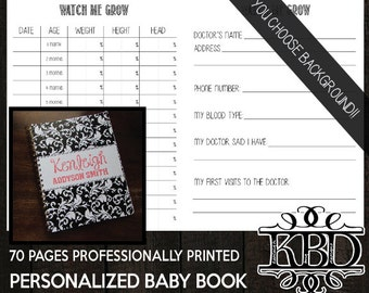 Custom Baby Memory Book - You Choose Background & Accent Color | Pregnancy Journal | Baby Album | Baby Boy | Baby Girl