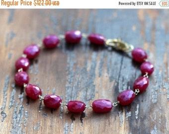 ON SALE Ruby Bracelet, July Birthstone Bracelet, Ruby & Gold Bracelet, Wire Wrapped Ruby Bracelet, Gemstone Bracelet