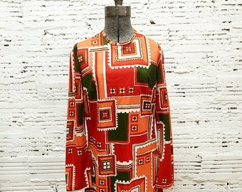 Vintage Orange & Avocado Tunic -Medium