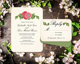In Bloom Wedding Invitation Suite; Invitation, Reply, Leaves, Garden, Floral, Vintage, Rustic
