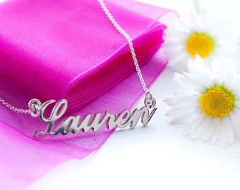 Personalised Silver Name Necklace Carrie Style Name Plate ANY CUSTOM NAME - Unique Jewellery Gift for Woman Daughter Wife Sister Her